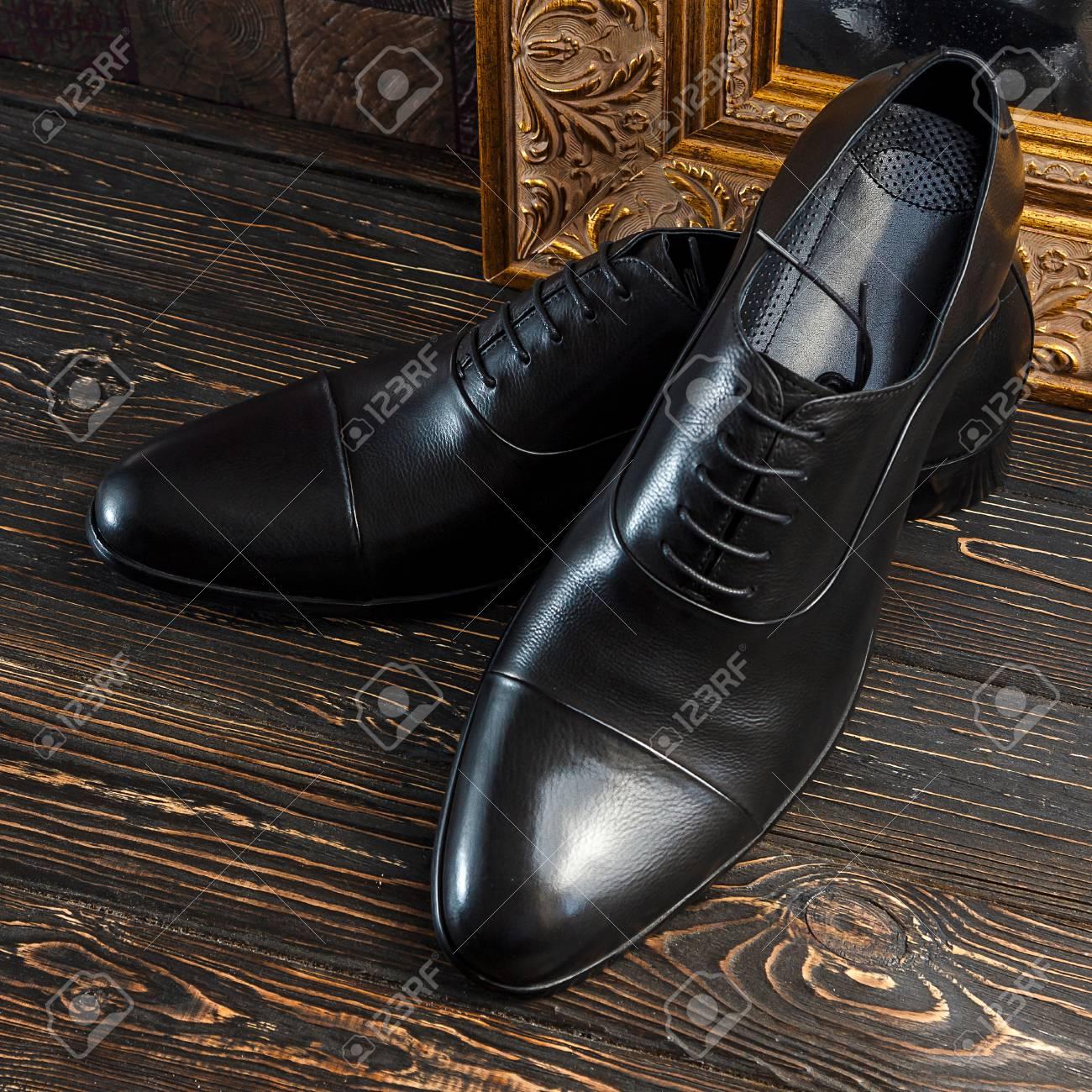 A Pair Of Black Color Oxford Men Shoes