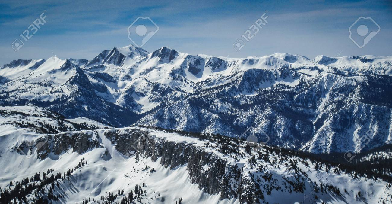 Panoramic View Of Snow Covered Sierra Nevada Mountain Range From Stock Photo Picture And Royalty Free Image Image 92468975