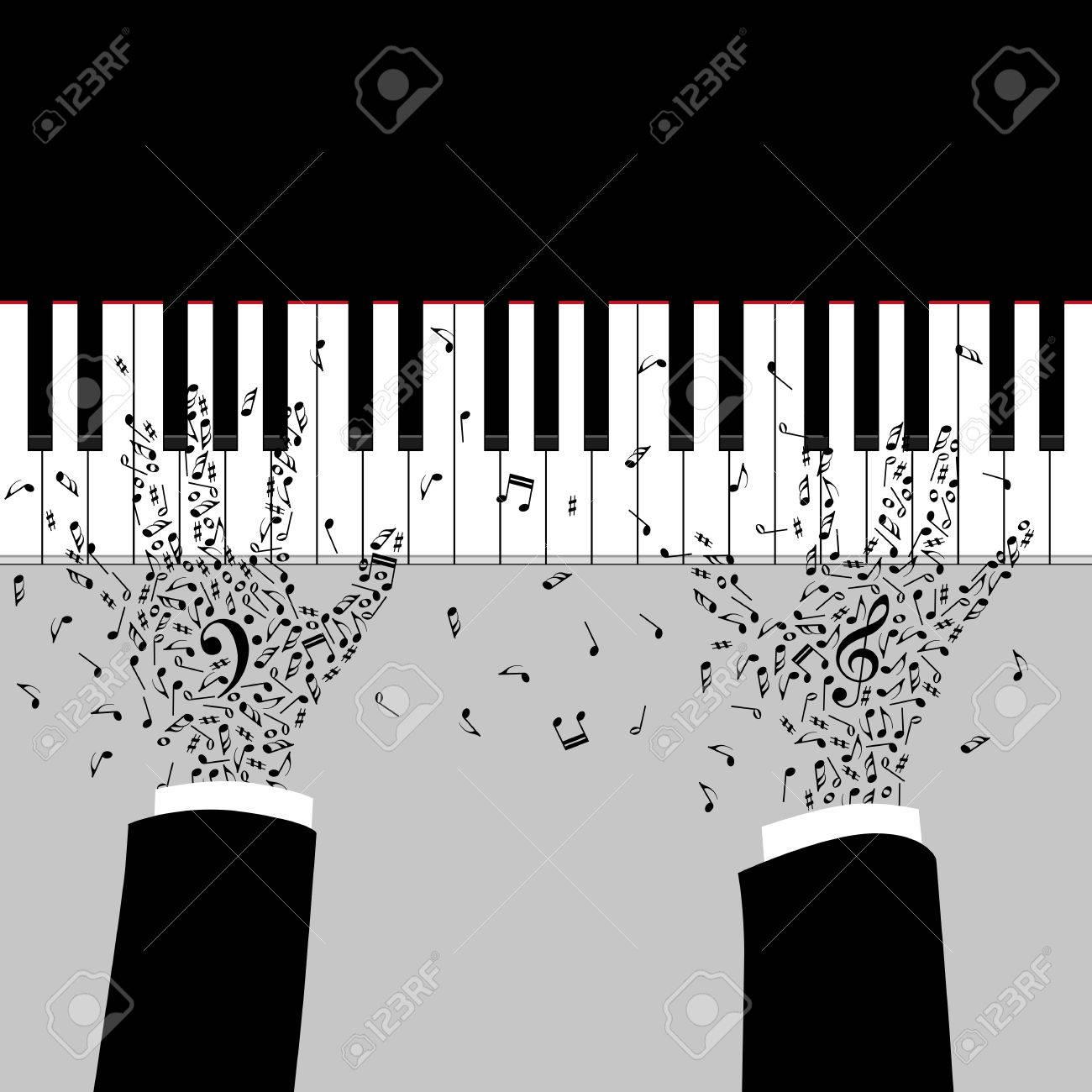 Las Manos Del Músico Están Jugando En El Piano Silueta Con Teclas