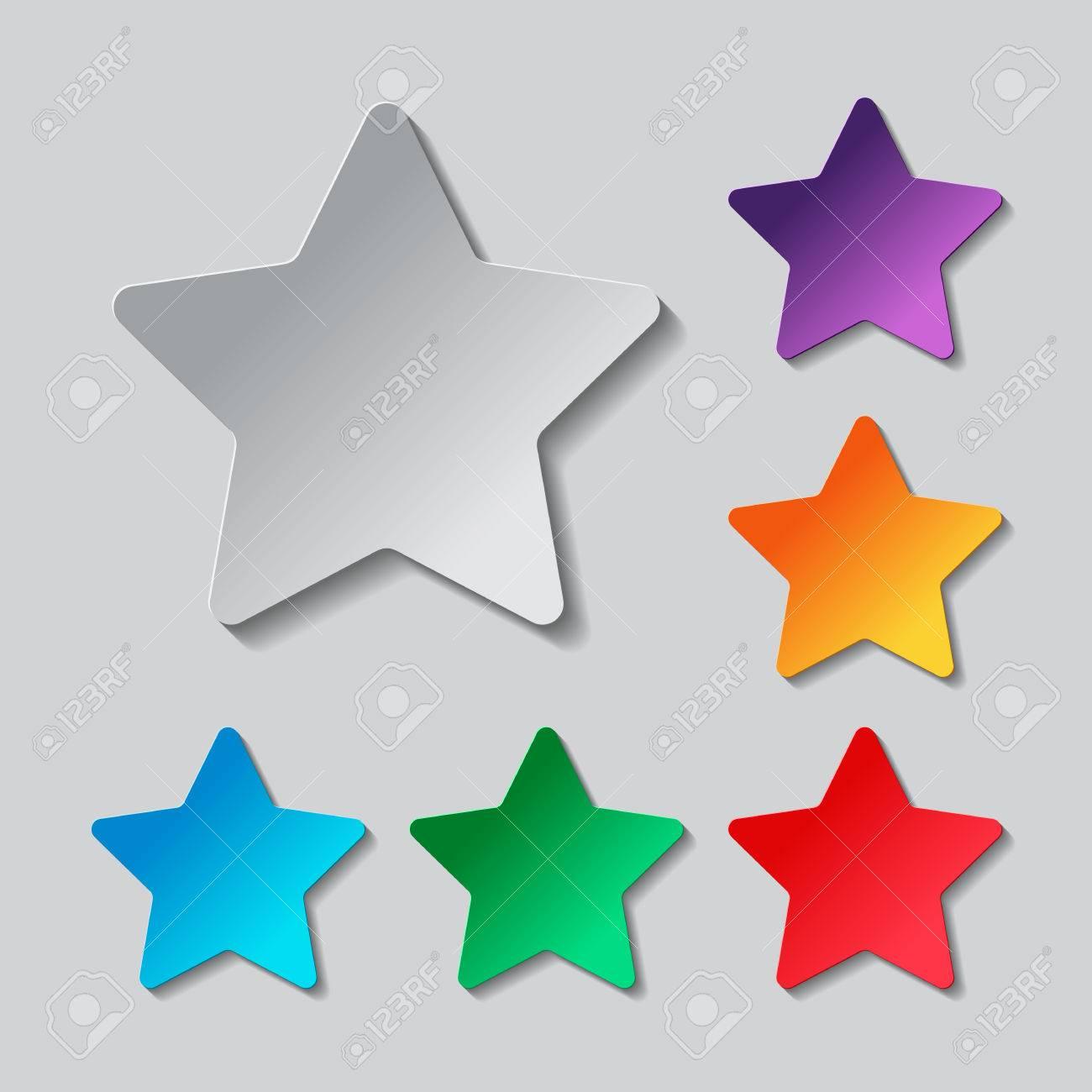 insieme dell'icona della stella. disegno di carta con oggetti ... - Disegno Stella Colorate