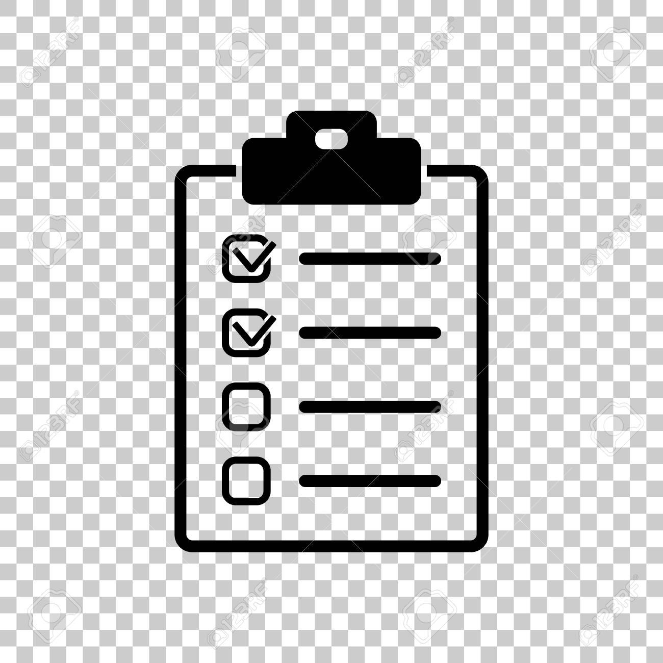 checklist icon. black icon on transparent background. royalty free