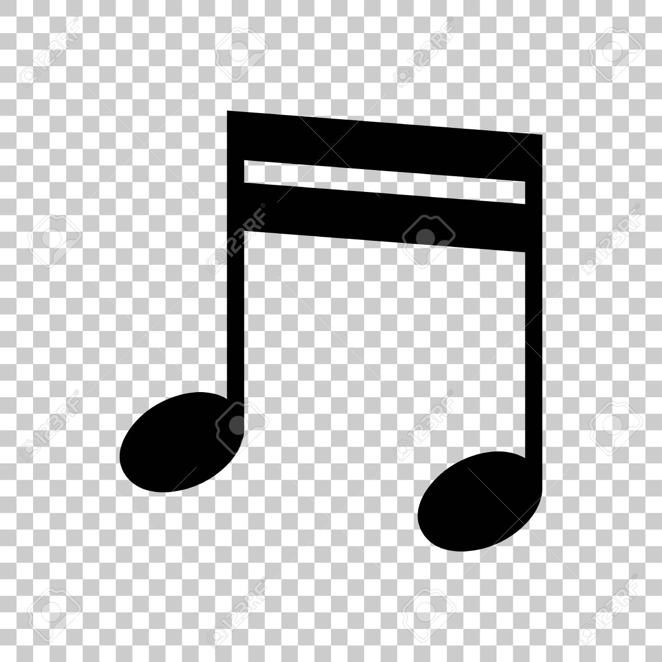 Music Note Icon Black Icon On Transparent Background Royalty Free