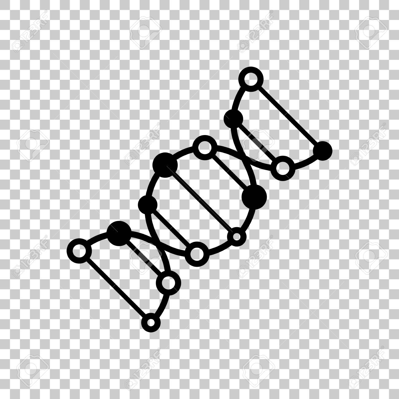 dna icon. black icon on transparent background. royalty free