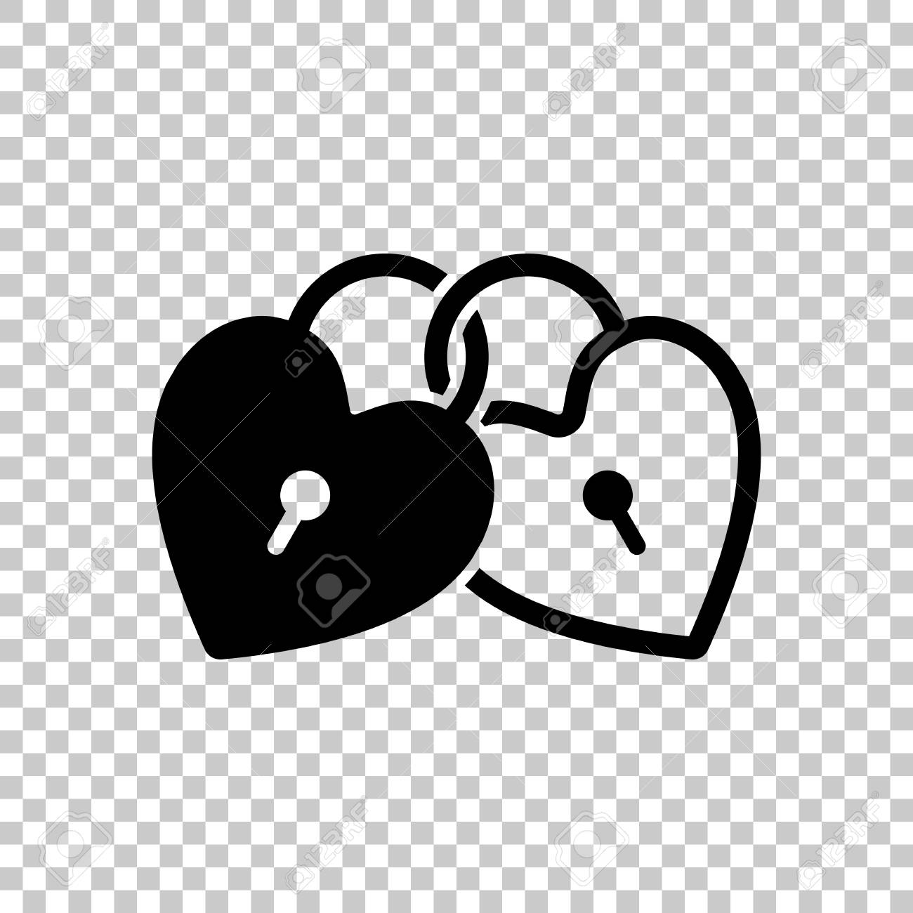 linked hearts lock icon on transparent background royalty free