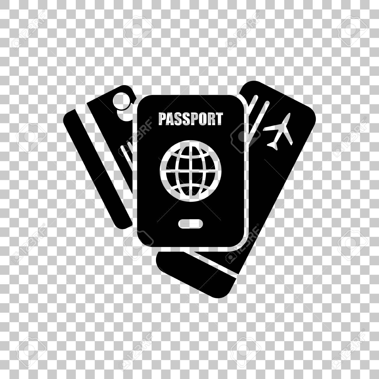 passport ticket credit card air travel concept on transparent
