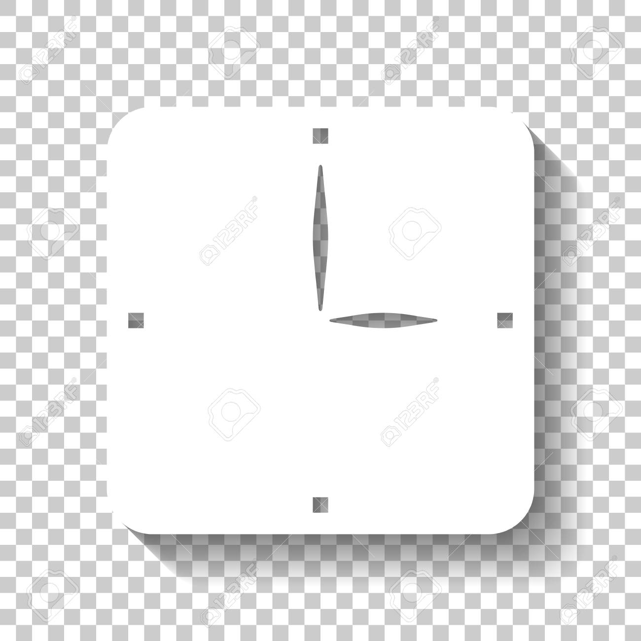 Simple clock icon  White icon with shadow on transparent background