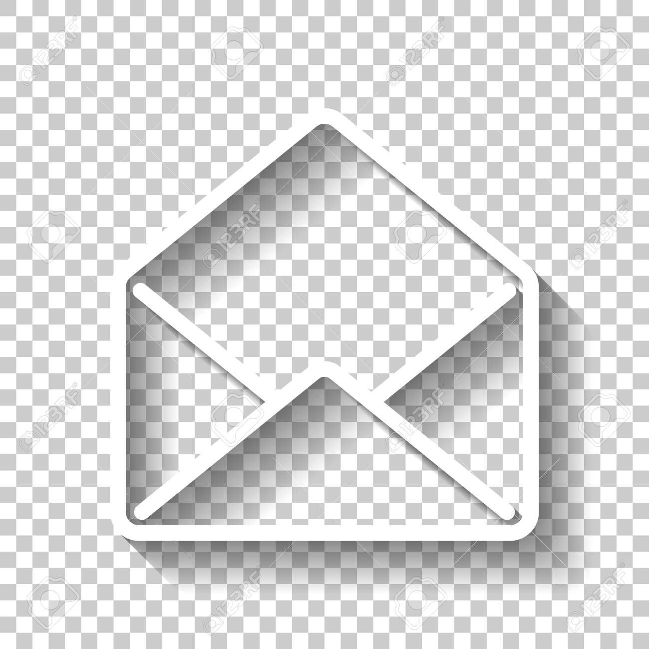 mail open icon. White icon with shadow on transparent background Stock Vector - 96761286