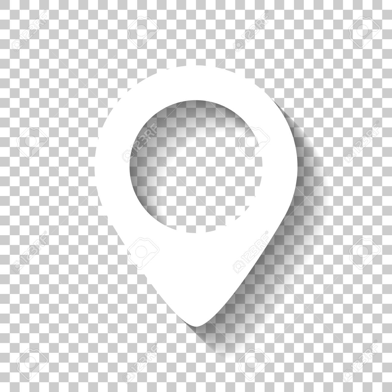map label icon  White icon with shadow on transparent background