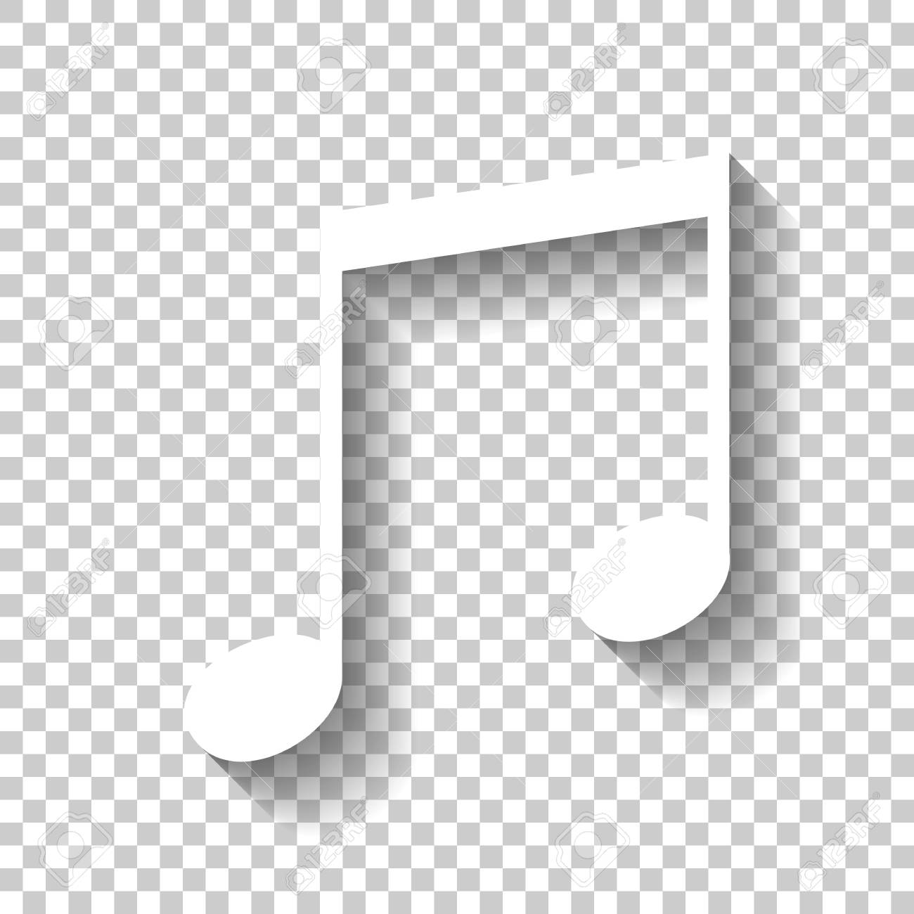 Music note icon  White icon with shadow on transparent background