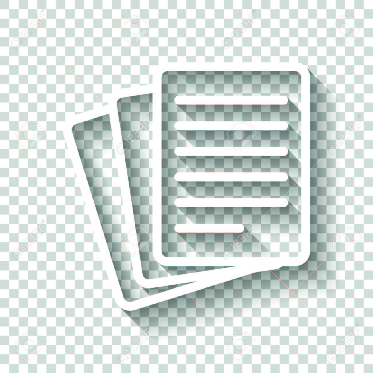 stack of paper icon. white icon with shadow on transparent