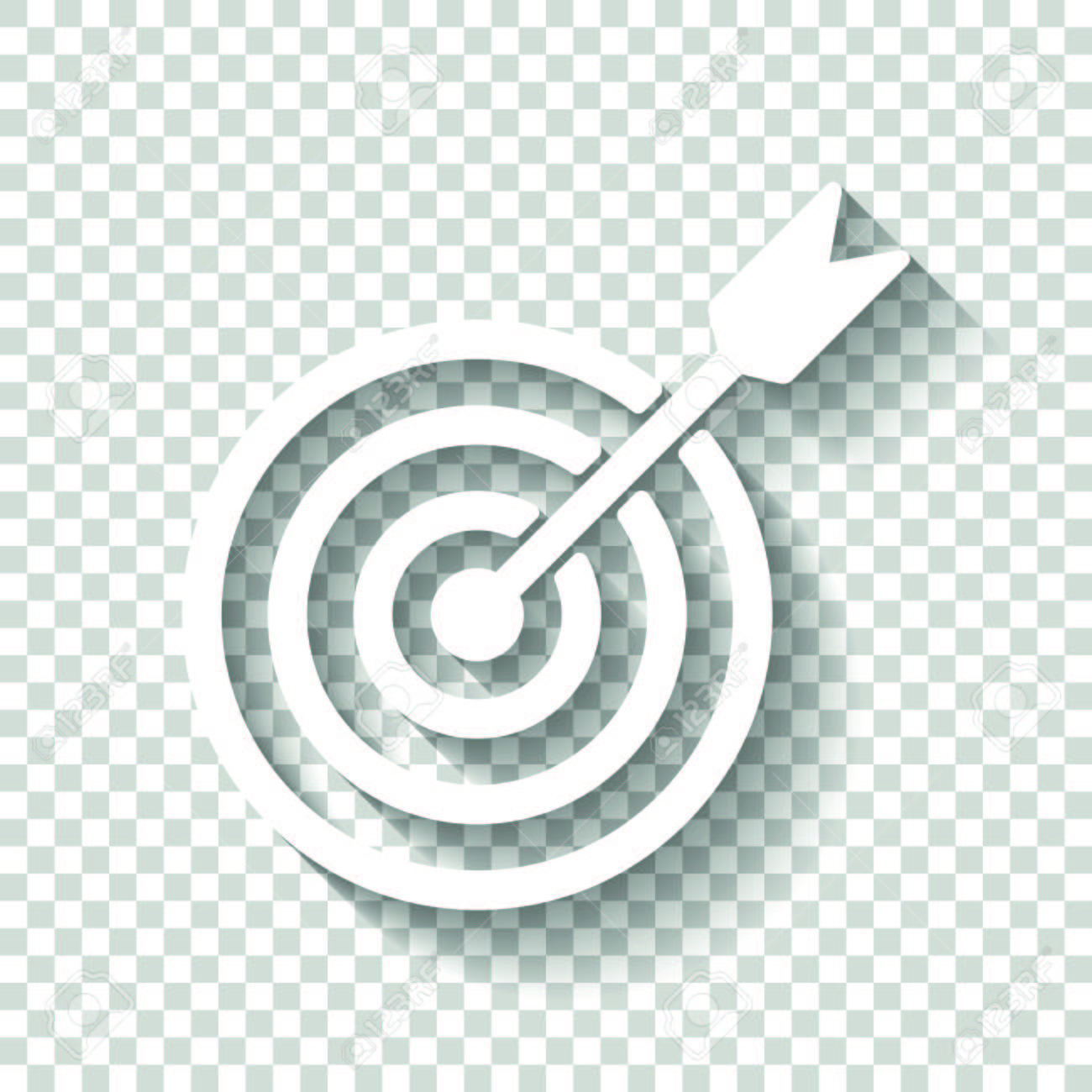 Target Icon White Icon With Shadow On Transparent Background