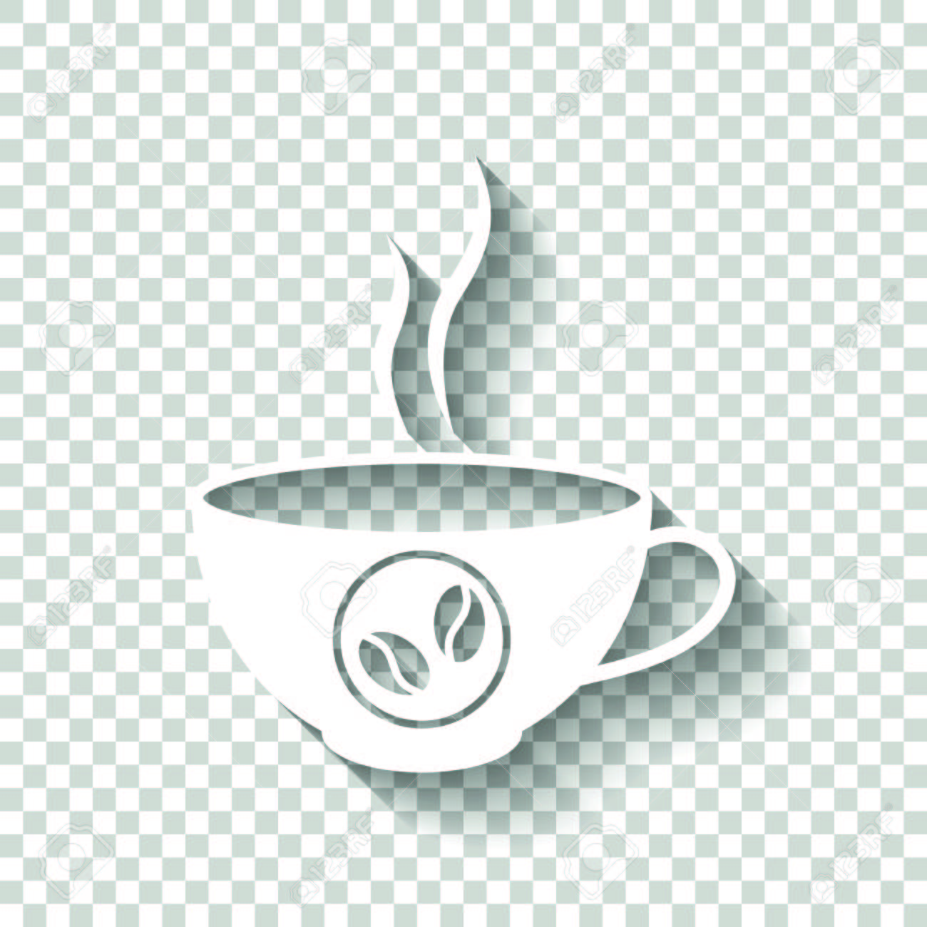 Cup Of Hot Coffee Icon White With Shadow On Transparent Background Stock Vector