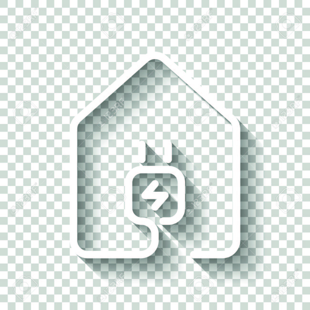 House With Electric Power Plug Icon Line Style. White Icon With ...
