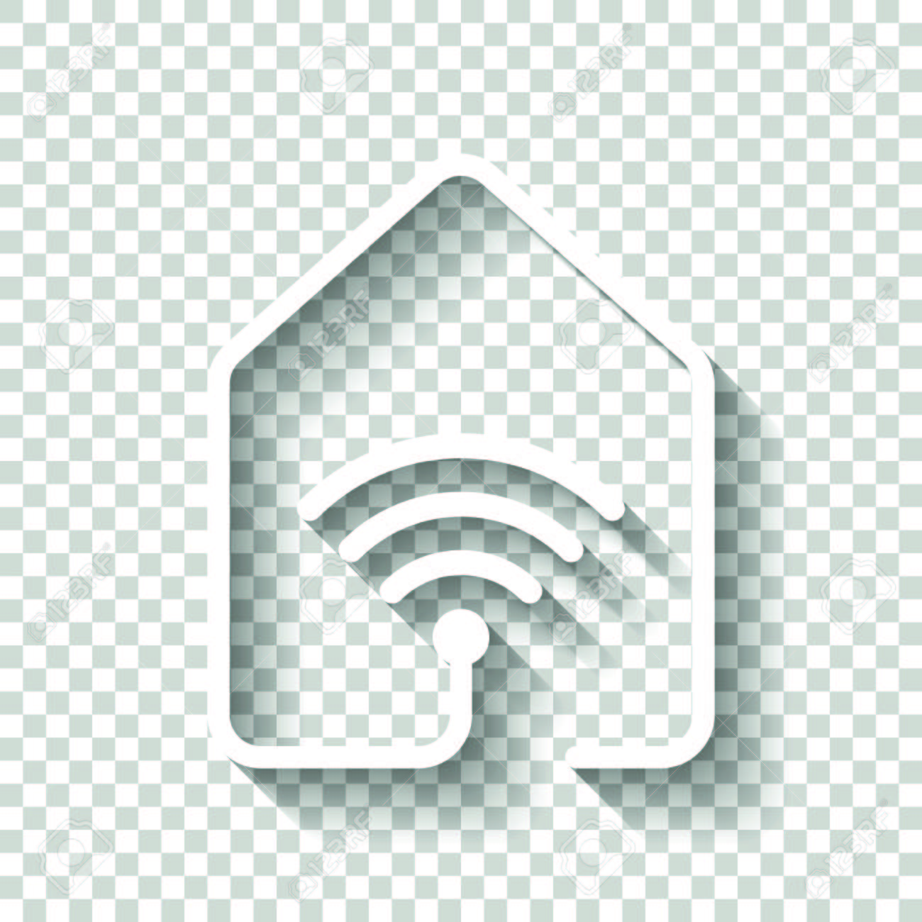 House With Wireless Internet Connection Icon Line Style White Royalty Free Cliparts Vectors And Stock Illustration Image 96943639