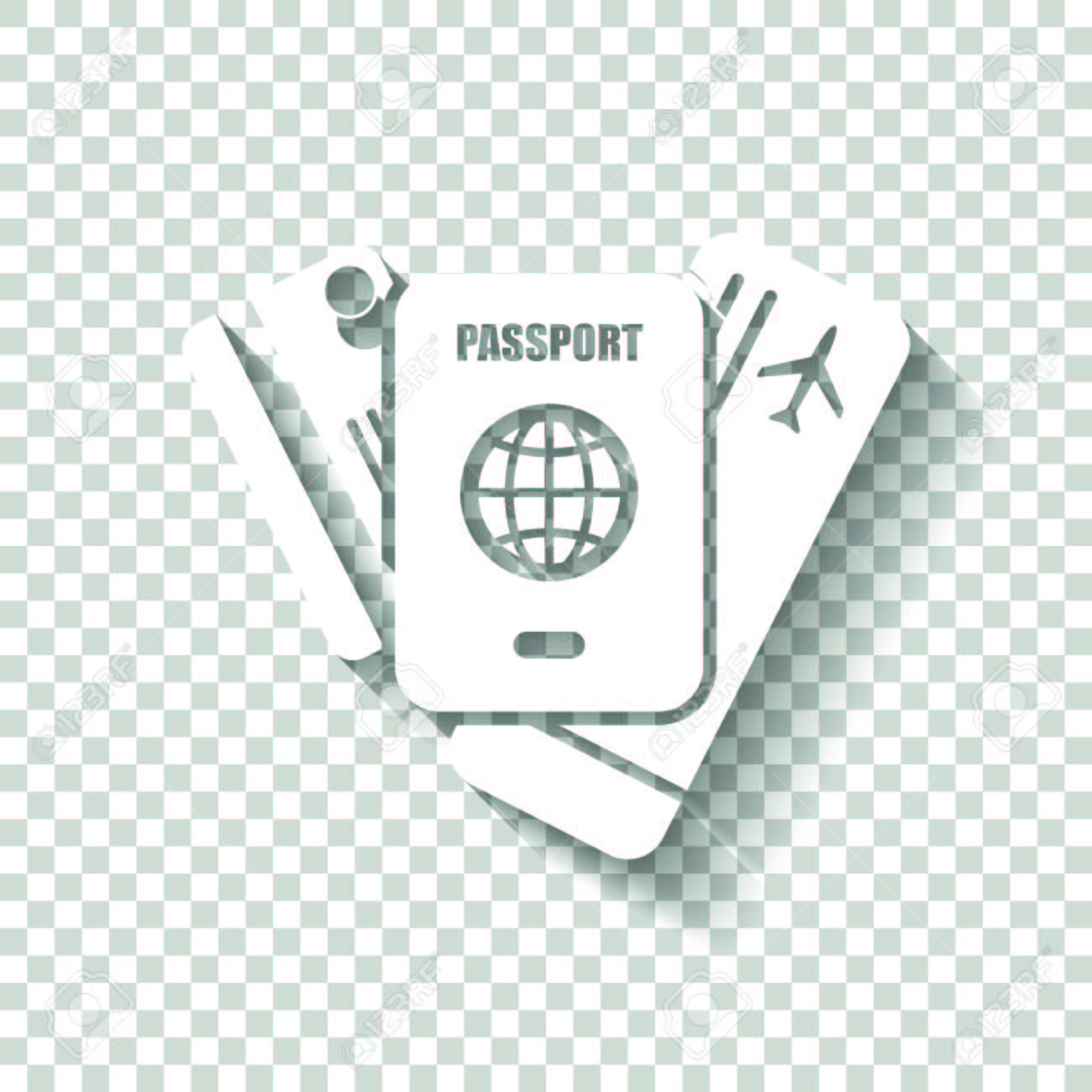 passport ticket credit card air travel concept white icon