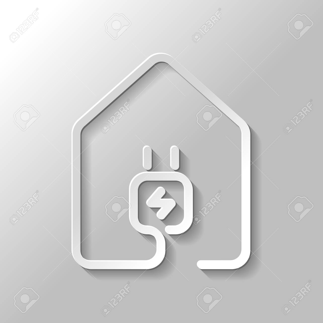 House With Electric Power Plug Icon. Line Style. Set Of Paper ...