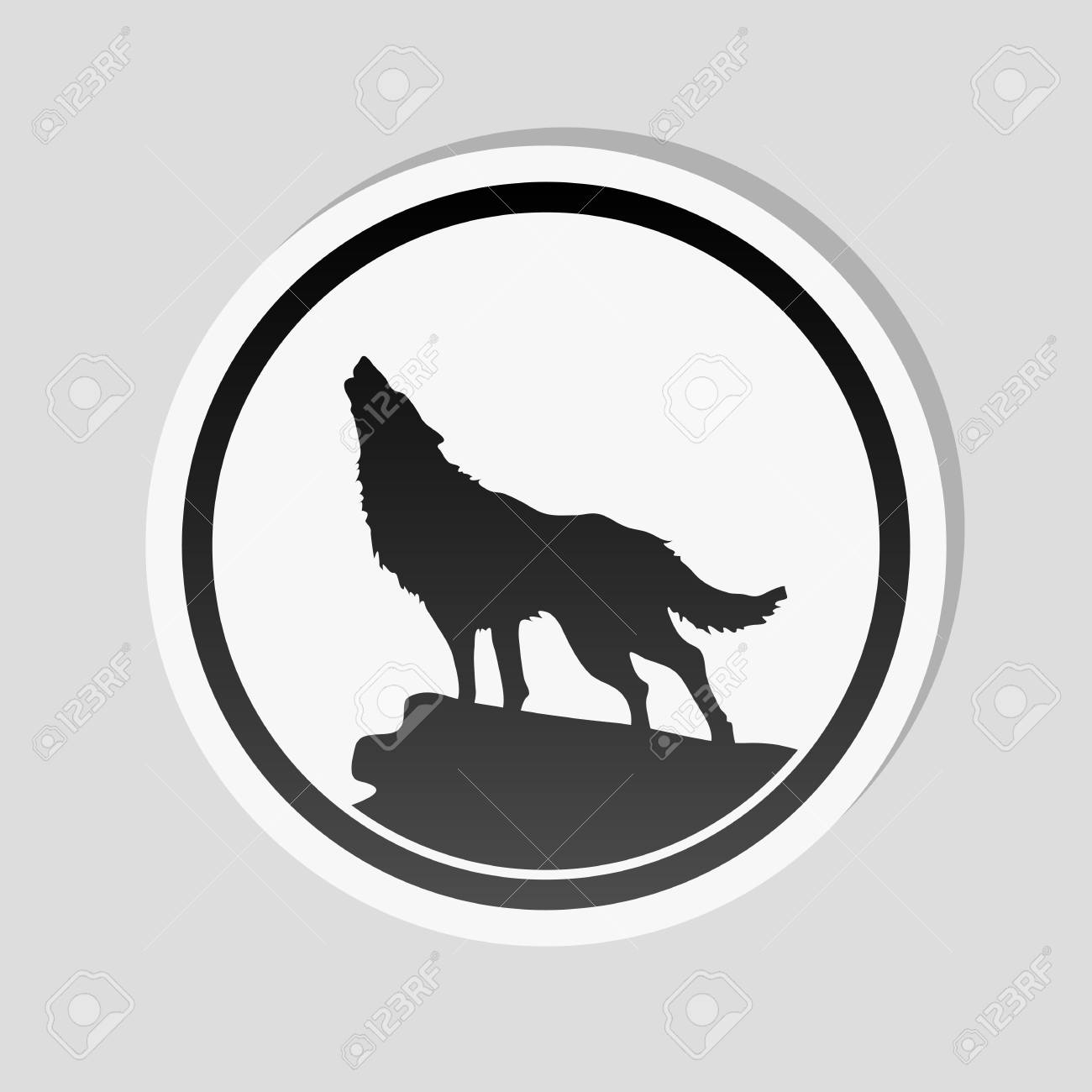 Vector wolf simple icon sticker style with white border and simple shadow on gray background