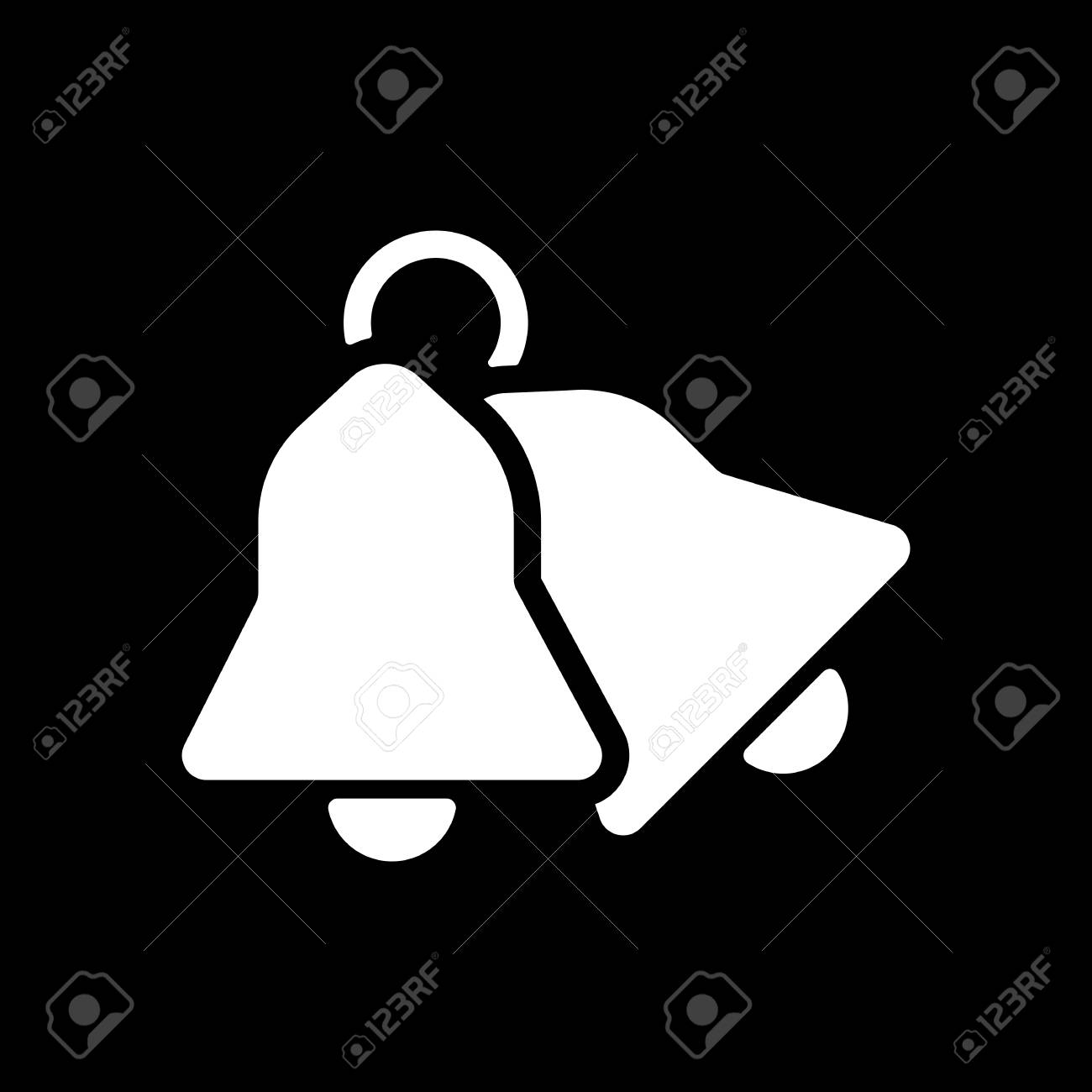 Christmas Bell Icon On Black Background Stock Vector