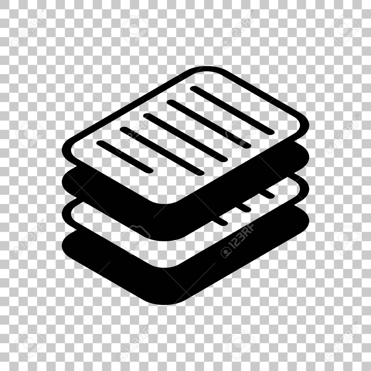 stack of papers, simple symbol or icon. on transparent background