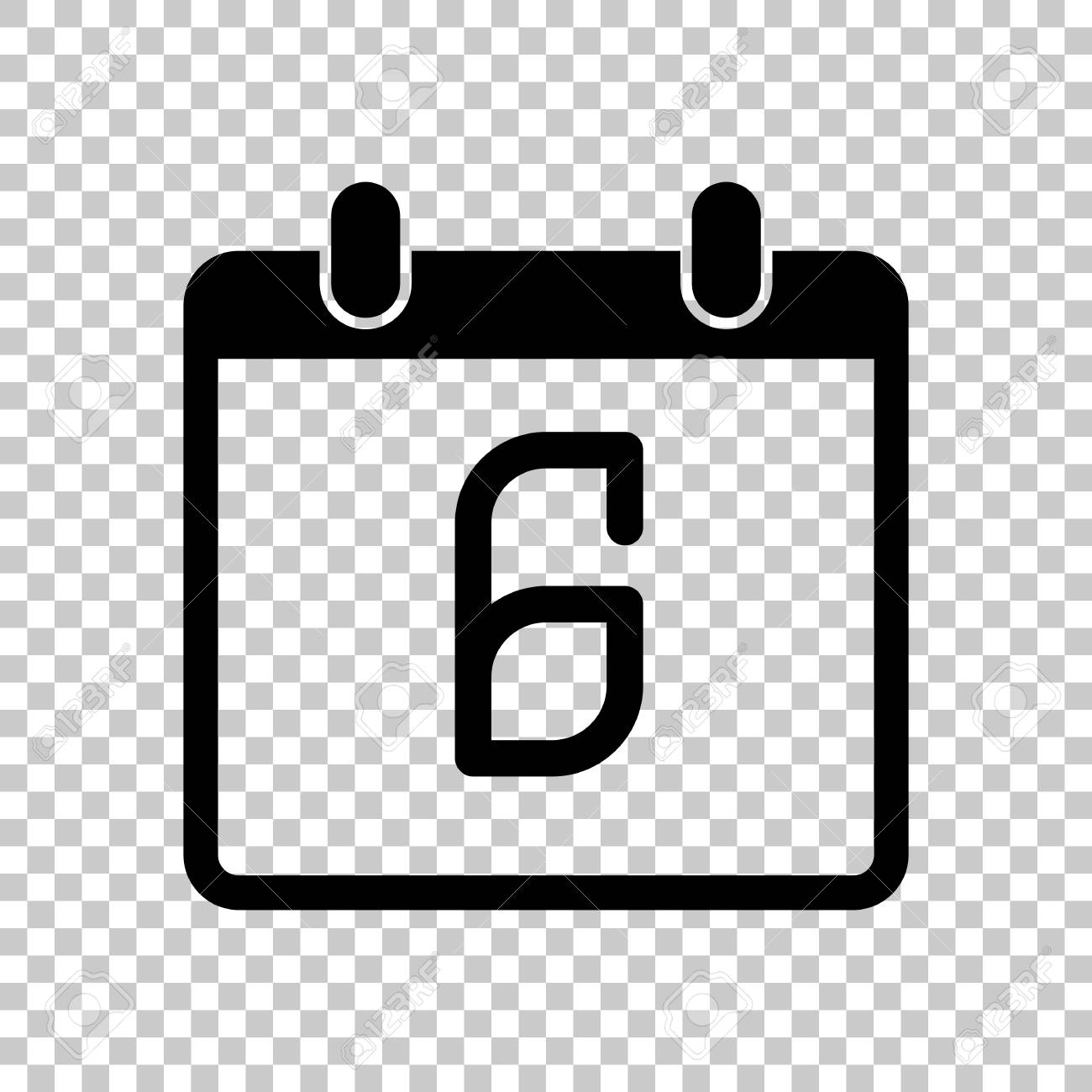 Calendar Days Icon.Calendar With 6 Day Simple Icon On Transparent Background