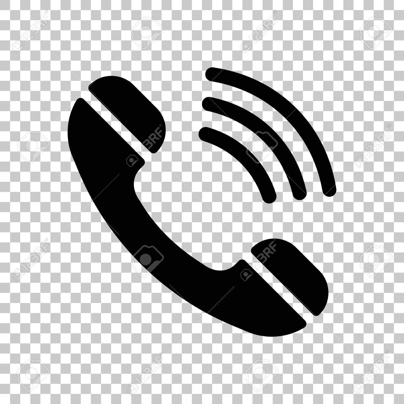 Ringing phone icon  Retro symbol  On transparent background