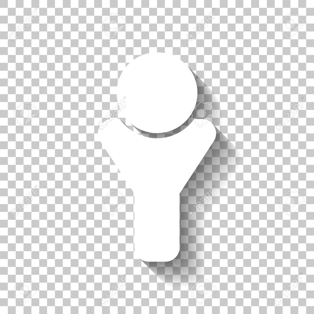 Simple Male Symbol Man Icon White Icon With Shadow On