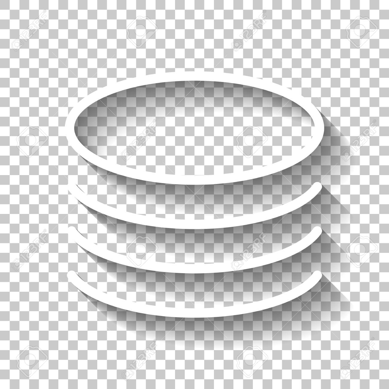 Database icon  Simple linear symbol, thin outline  White icon