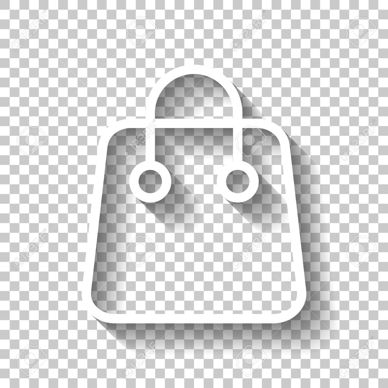 Shopping Bag Icon Linear Thin Outline White Icon With Shadow