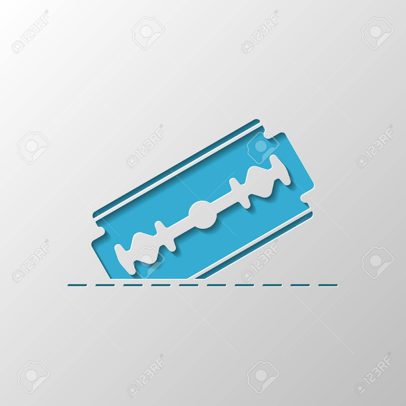 razor blade and cutting line. simple icon. Paper design. Cutted symbol with shadow - 111834509