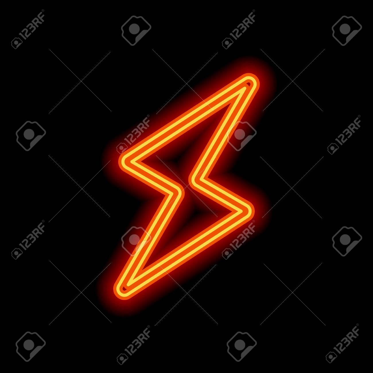 Flash Icon Orange Neon Style On Black Background Light Icon Royalty Free Cliparts Vectors And Stock Illustration Image 111837670