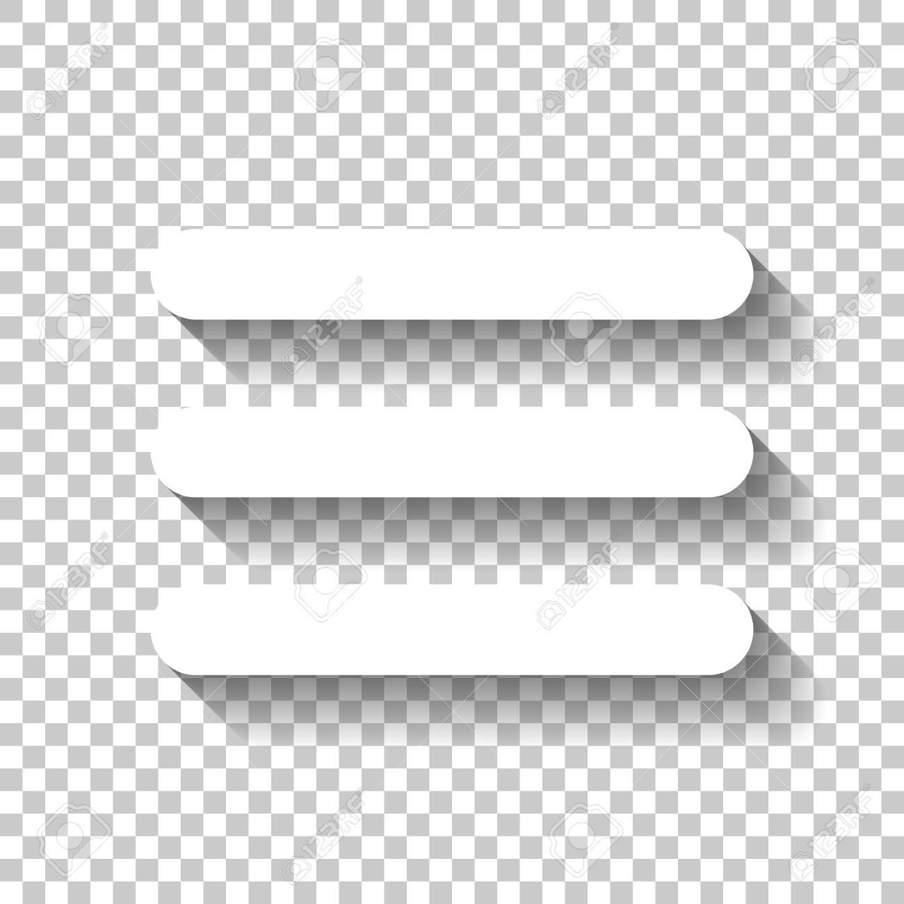Hamburger menu. Web icon. White icon with shadow on transparent background - 108564673