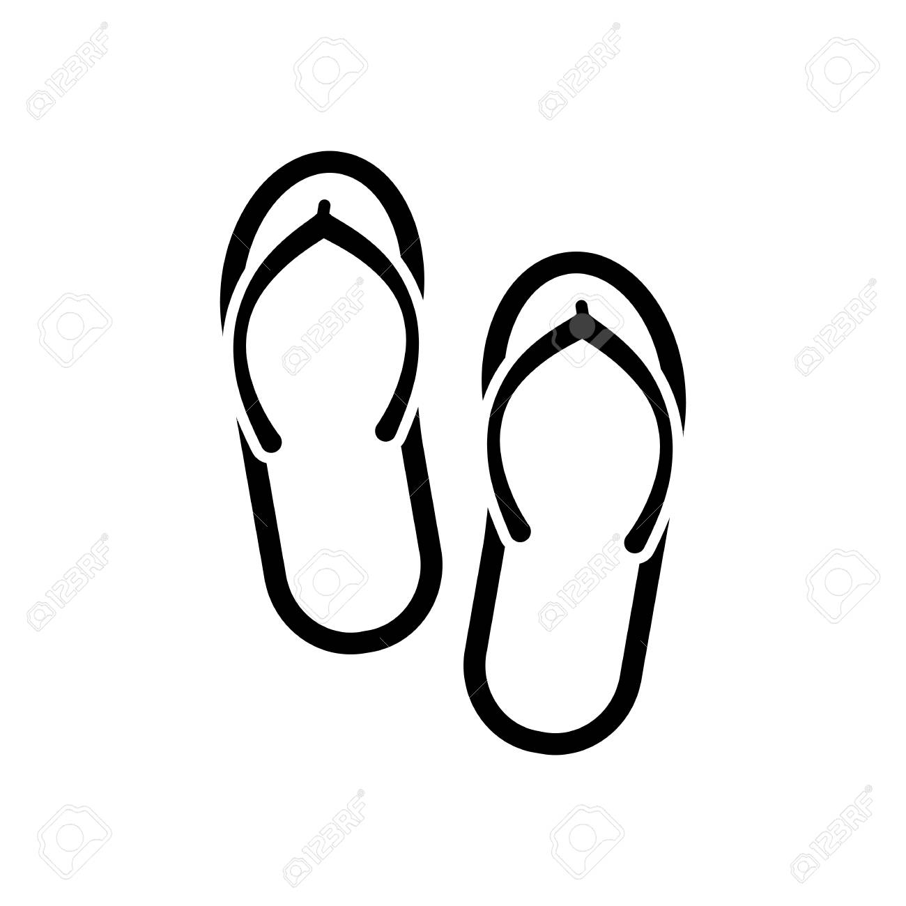 5283961c8 Beach Slippers. Flip Flops Icon. Black On White Background Royalty ...