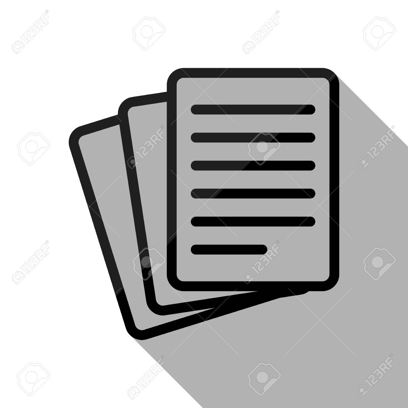 stack of paper icon. black object with long shadow on white