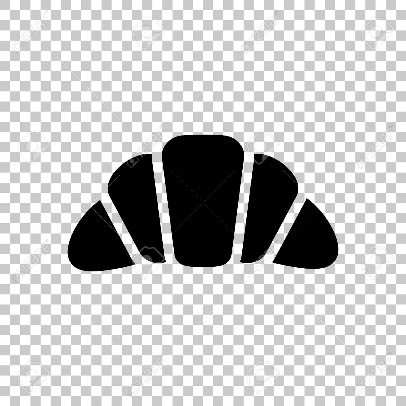 Silhouette of croissant  Icon of food  Black symbol on transparent