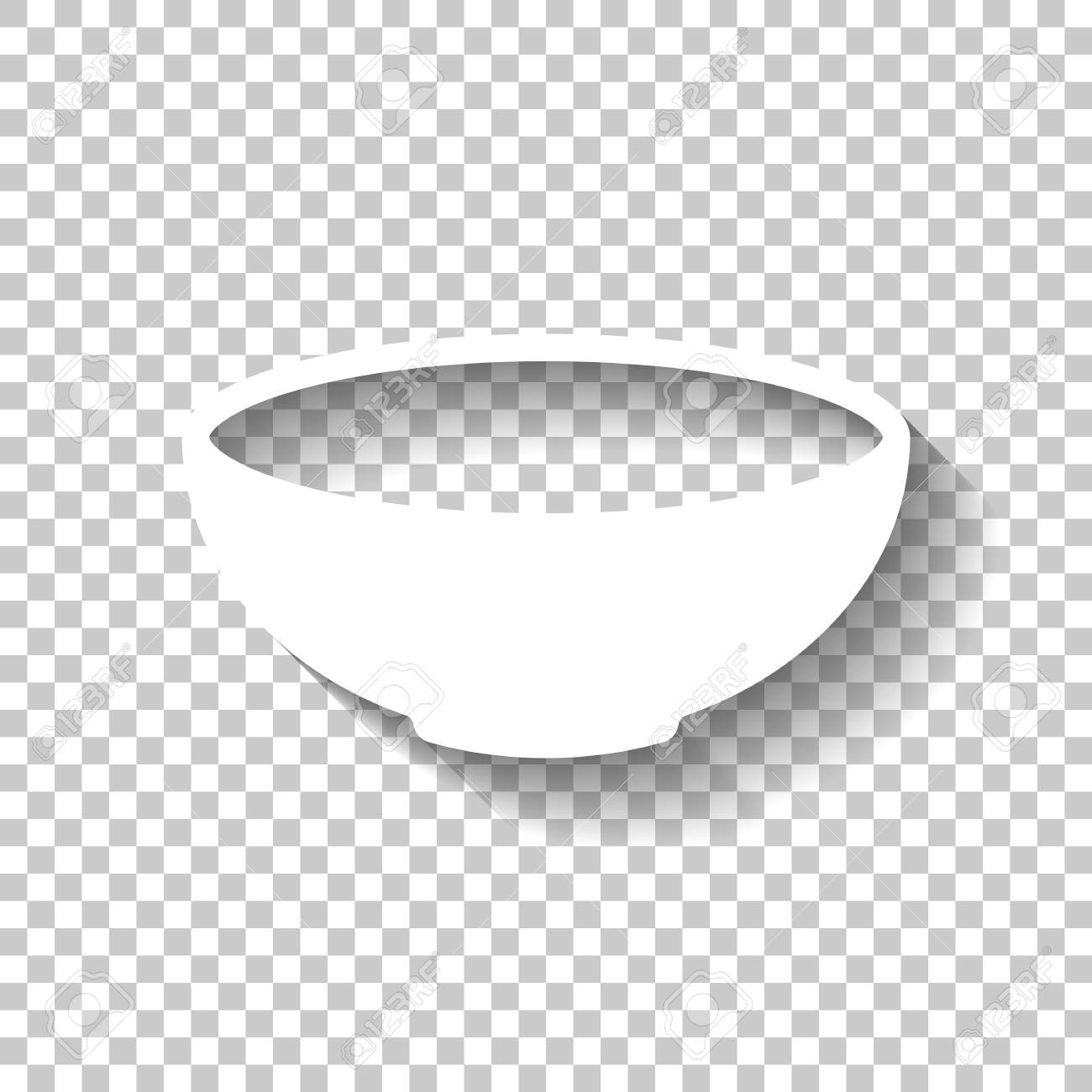 empty bowl icon sign of kitchen white icon with shadow on transparent royalty free cliparts vectors and stock illustration image 114275053 123rf com
