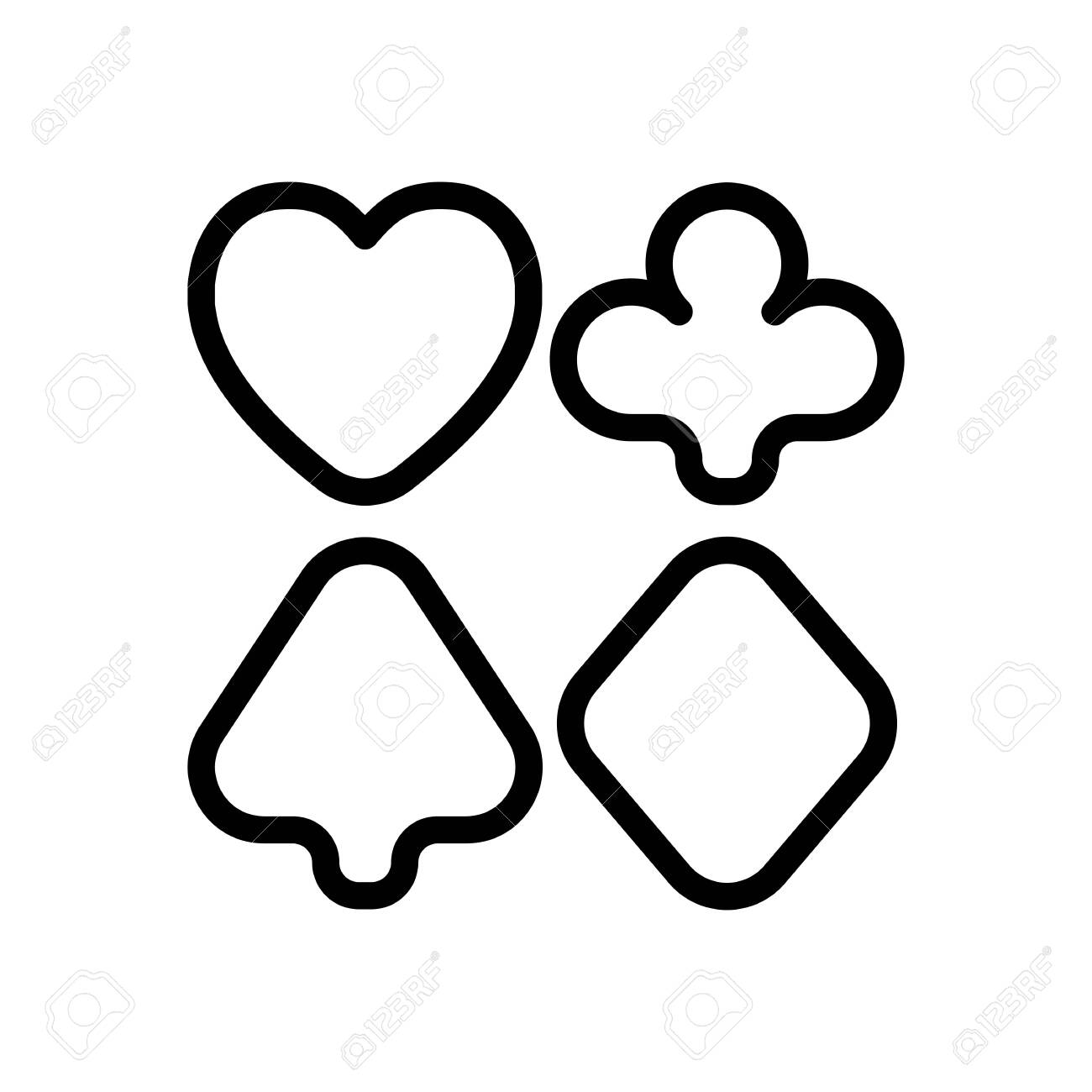 Playing Card Suits Poker Club Outline Design Black Icon On Royalty Free Cliparts Vectors And Stock Illustration Image 142892525