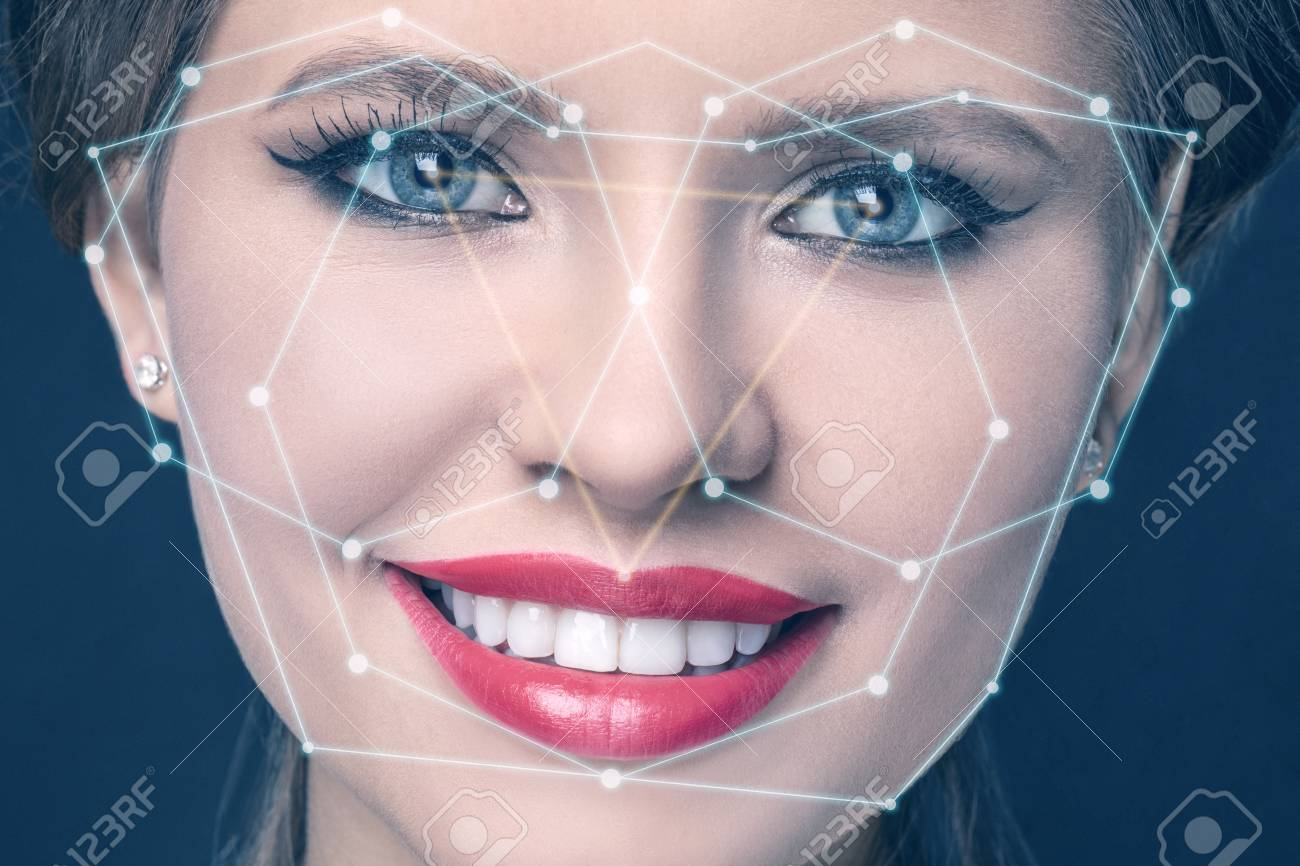 prix le plus bas 1f962 6ce17 technological scanning of a young womans face. face tracking...