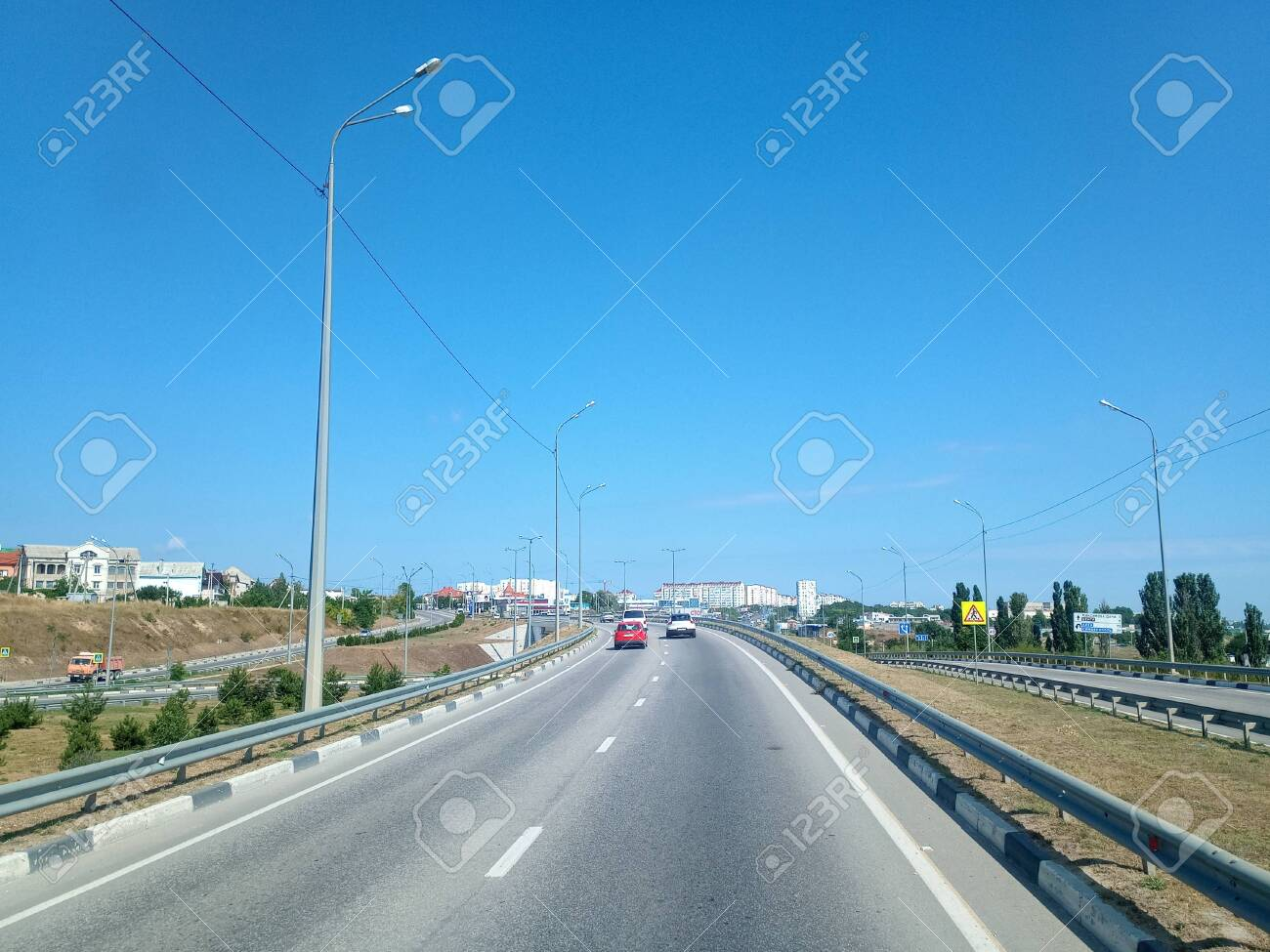 Crimean landscapes, driving on the roads of Crimea. Suburbs and villages and fields and trails of The Crimea. - 147636356