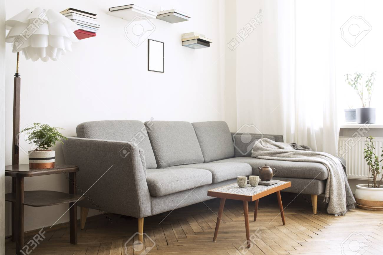Design scandinavian interior of living room with small stylish..