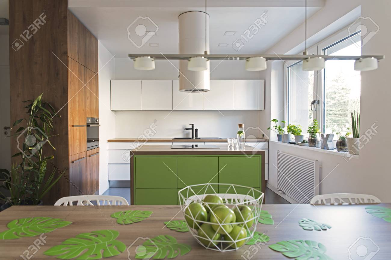 Modern And Design Scandinavian Space With Kitchen Island Table Stock Photo Picture And Royalty Free Image Image 116427686