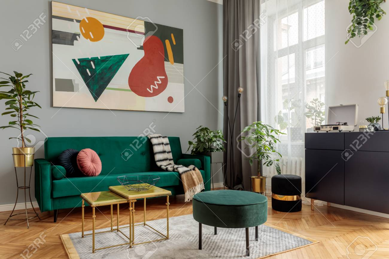 Luxury And Modern Home Interior With Design Green Sofa Navy Stock Photo Picture And Royalty Free Image Image 118466918
