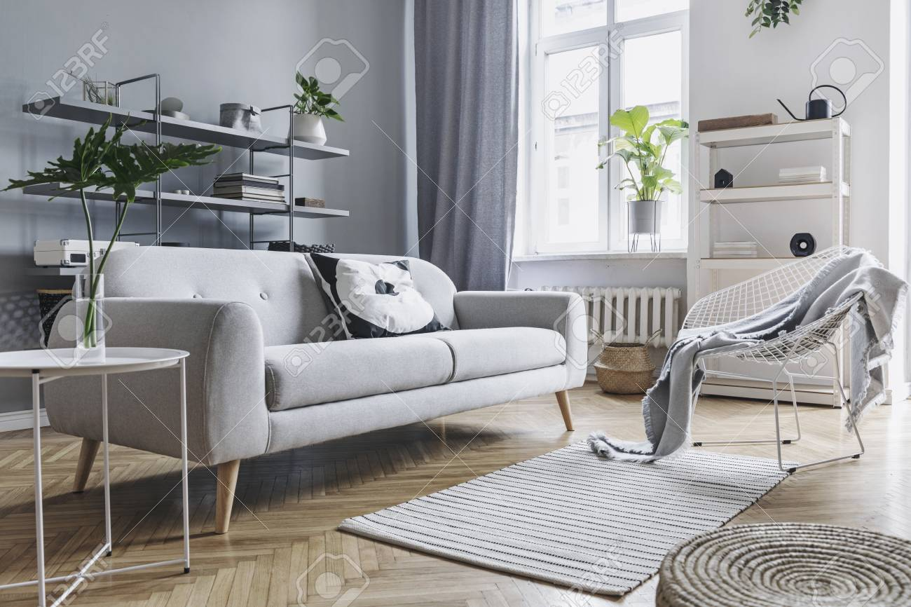Scandinavian Home Interior Of Living Room With Design Sofa With