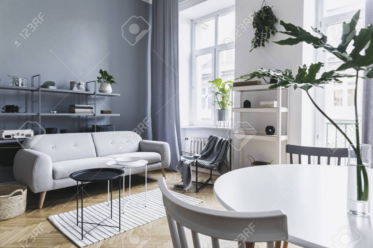 Home Nordic Living Room With Design Sofa Family Table Plants Stock Photo Picture And Royalty Free Image Image 119076407