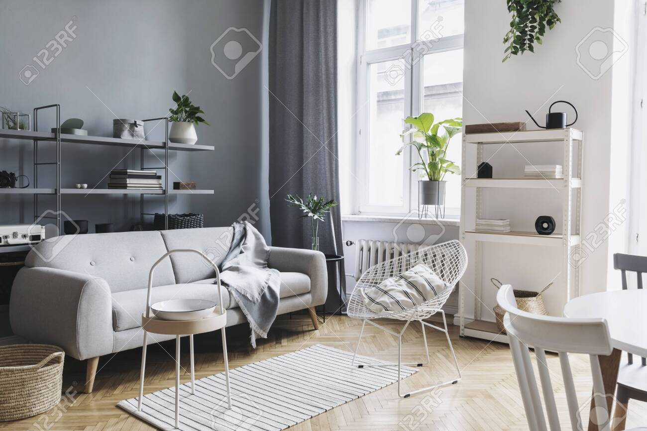 Stylish Home Nordic Living Room With Design Sofa Family Table Stock Photo Picture And Royalty Free Image Image 119076919
