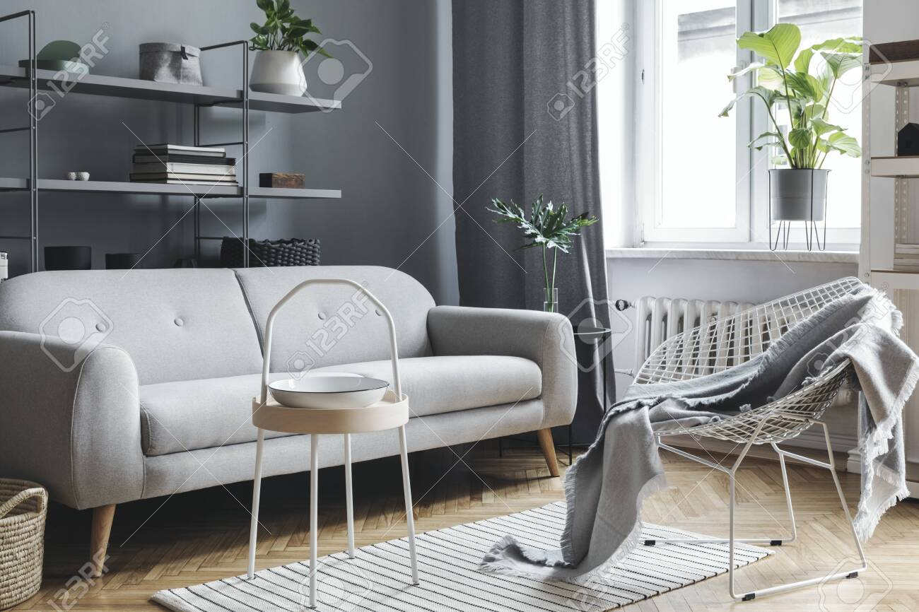 Modern and scandinavian living room with design sofa, coffee..
