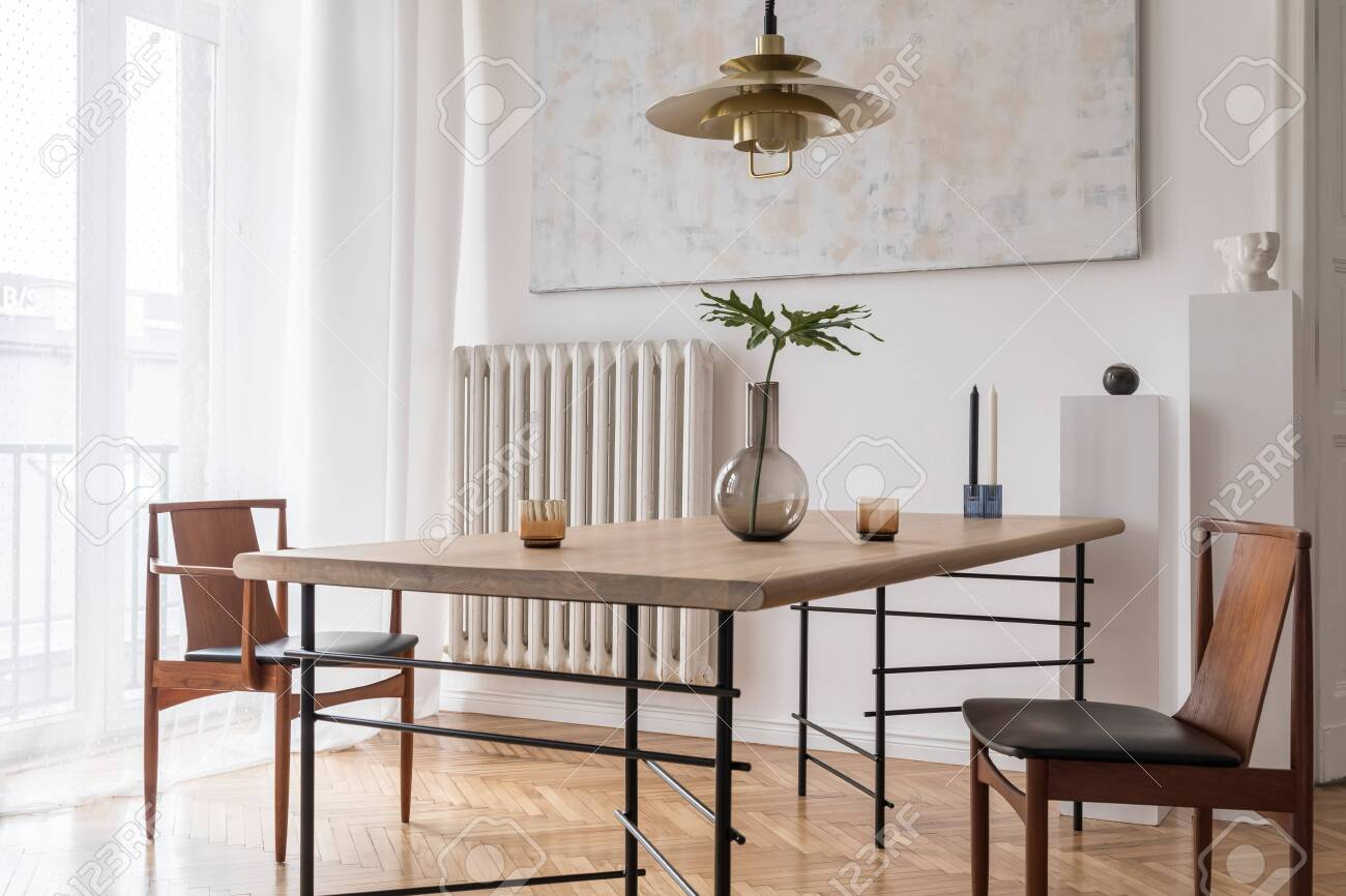 Stylish And Modern Dining Room Interior With Design Sharing Table Stock Photo Picture And Royalty Free Image Image 122960393