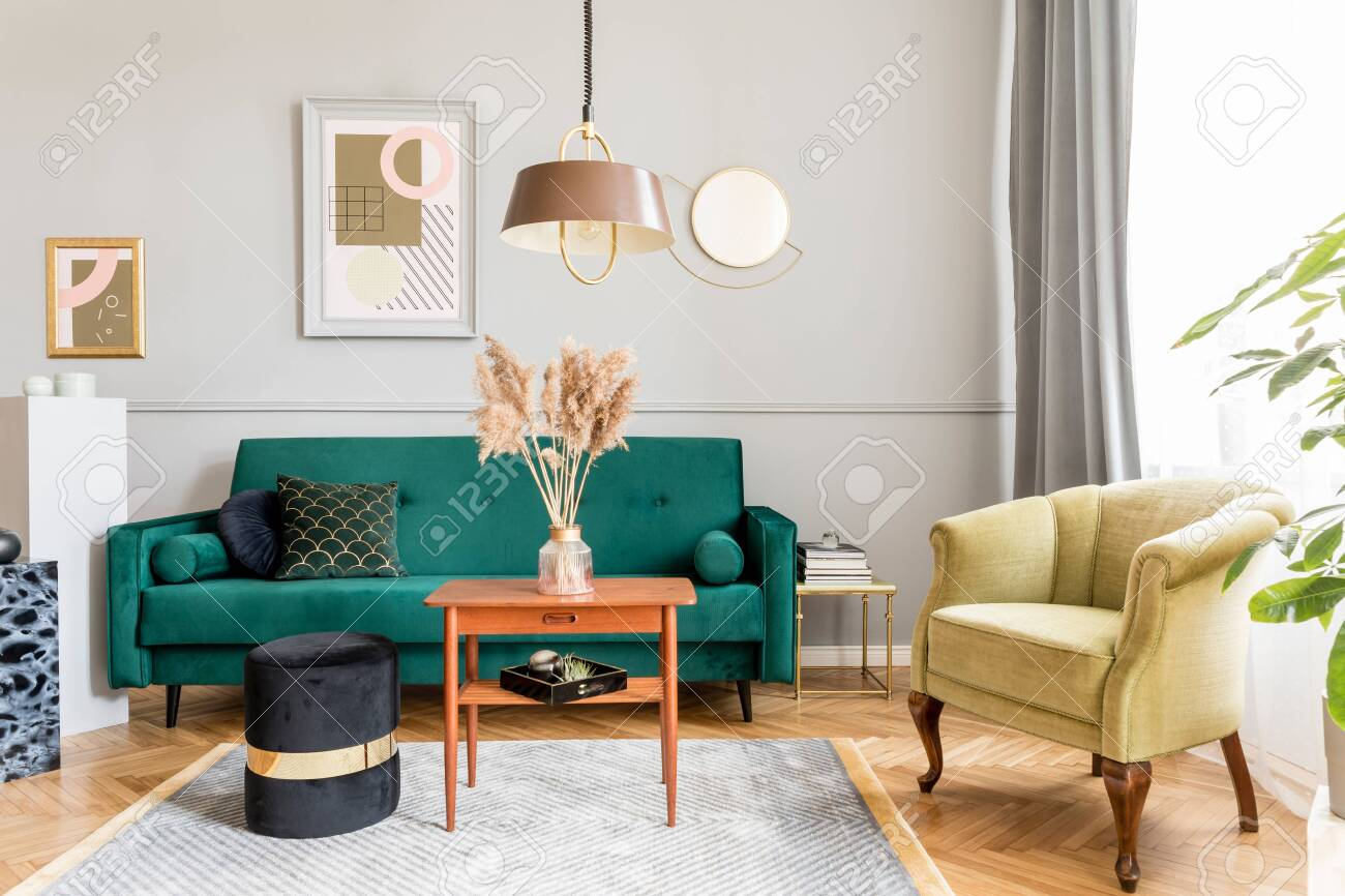 Stylish And Tasty Living Room Of Apartment Interior With Elegant Stock Photo Picture And Royalty Free Image Image 122965290