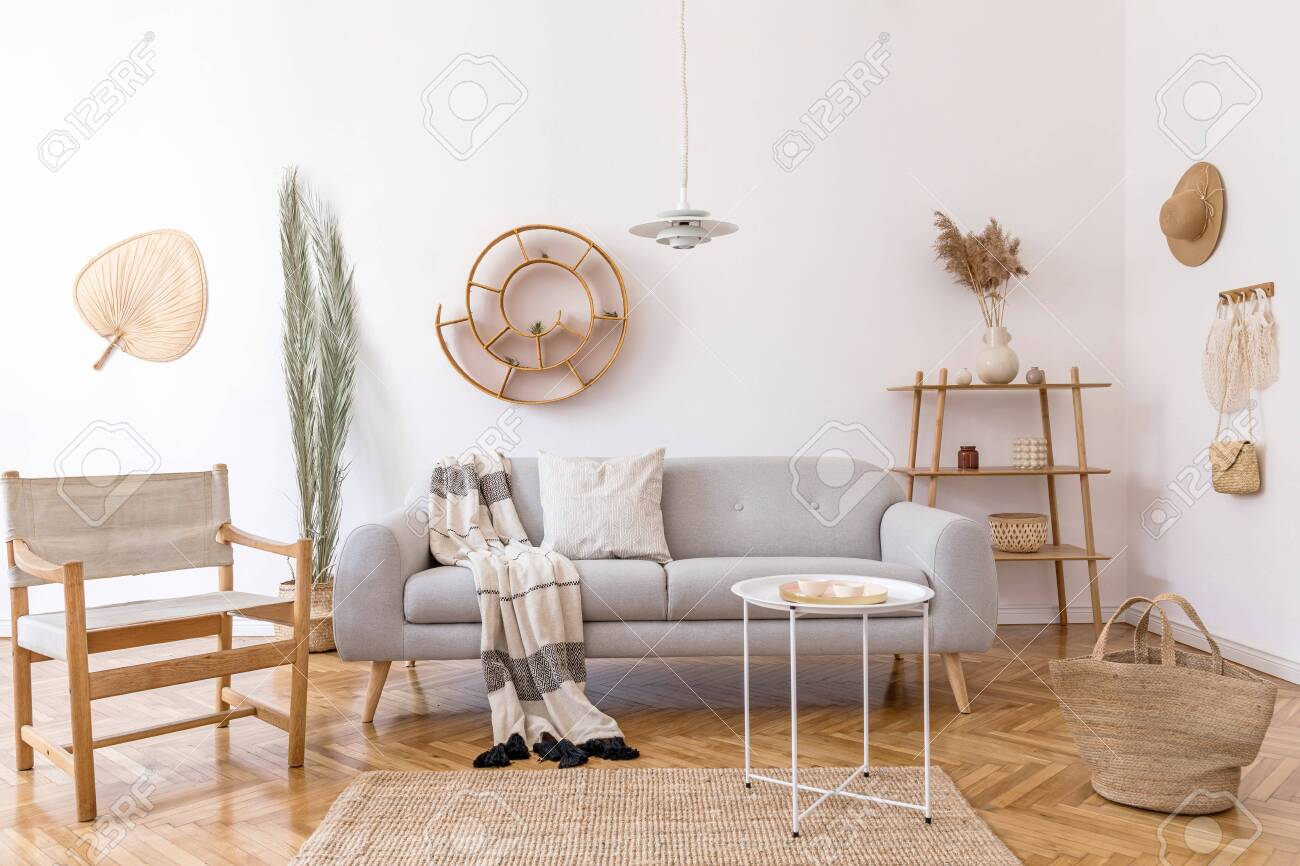 Stylish And Cozy Interior Of Living Room With Elegant Rattan Stock Photo Picture And Royalty Free Image Image 126277366
