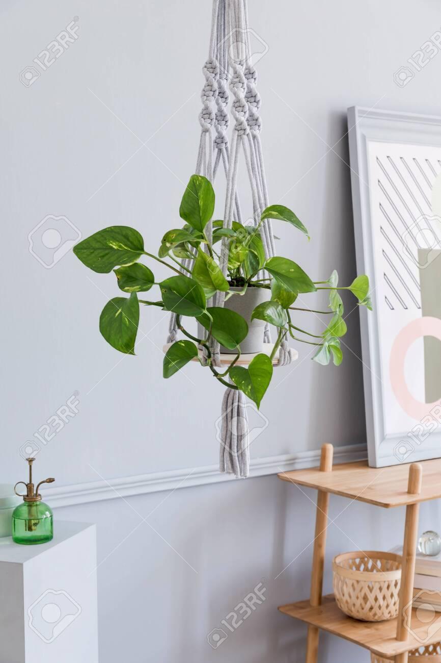 Close up of handmade macrame shelf planter hanger for indoor plants, rattan shelf, poster frame and elegant accessories. Cozy home decor. Stylish and minimalistic boho interior of living room. - 131133737