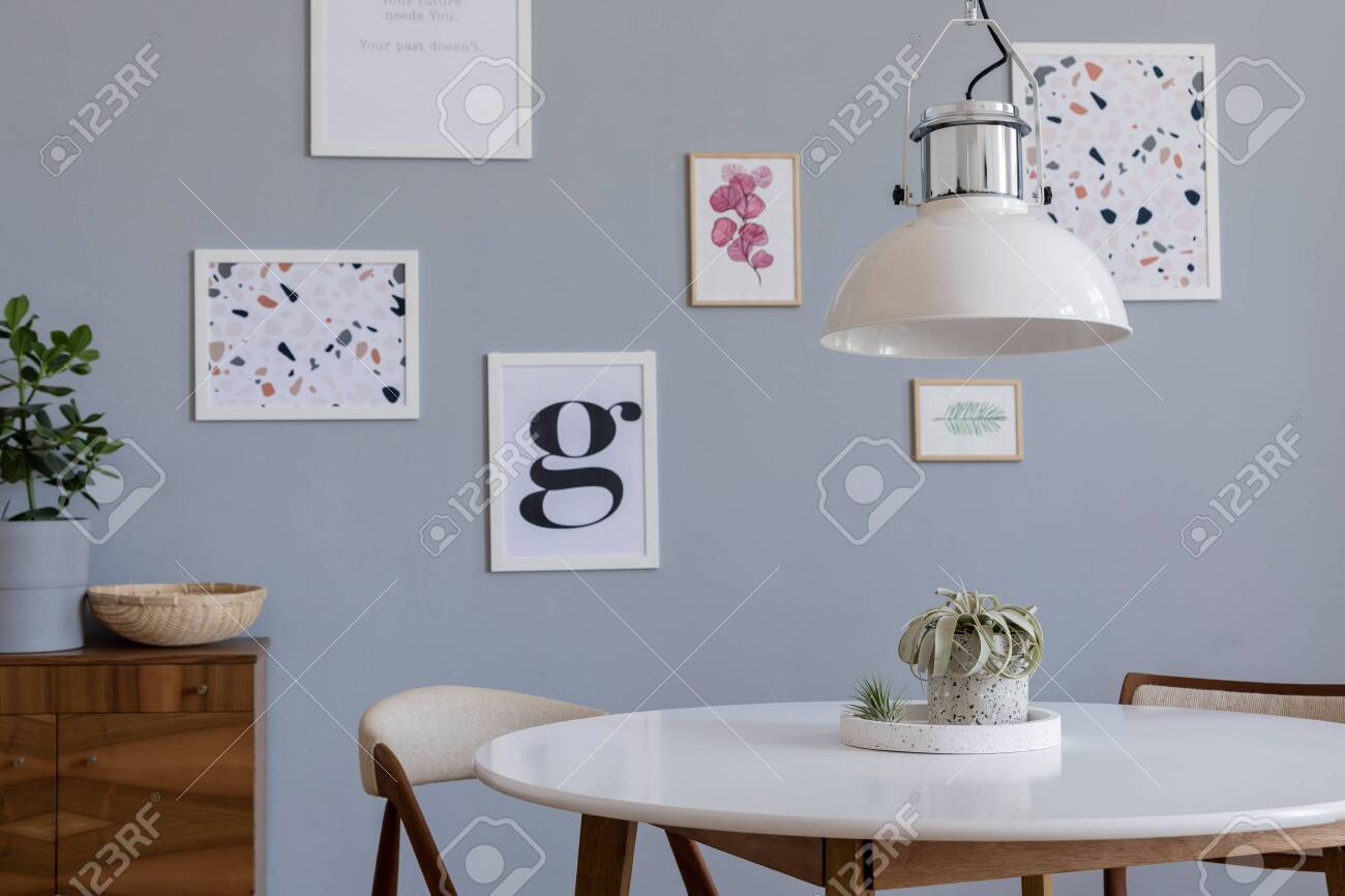 Stylish Scandinavian Home Interior Of Dining Room With Design Stock Photo Picture And Royalty Free Image Image 134013849